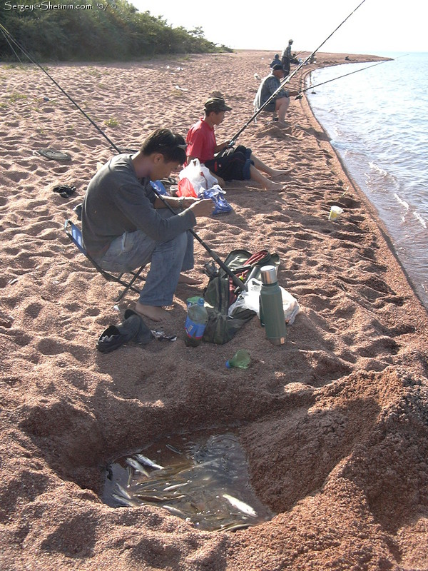 Issyk kul lake fishing along the shore for 95 9 the fish