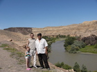 Lyuba, me and Sergey are against a background of river and Charyn canyon.