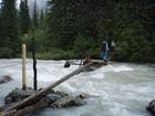 My turn to cross the river. The logs were slippery indeed.